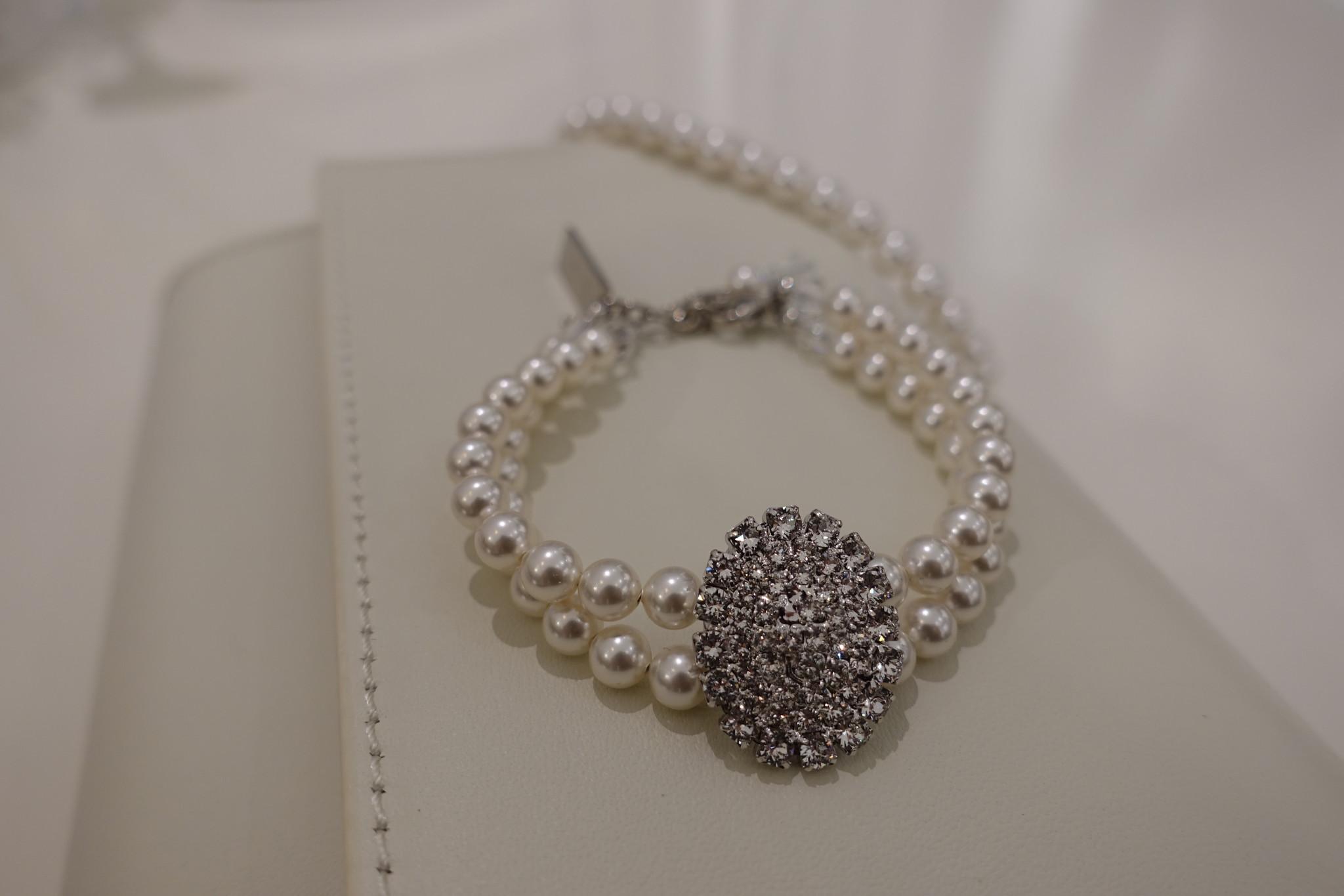 Parel armband met diamant-1