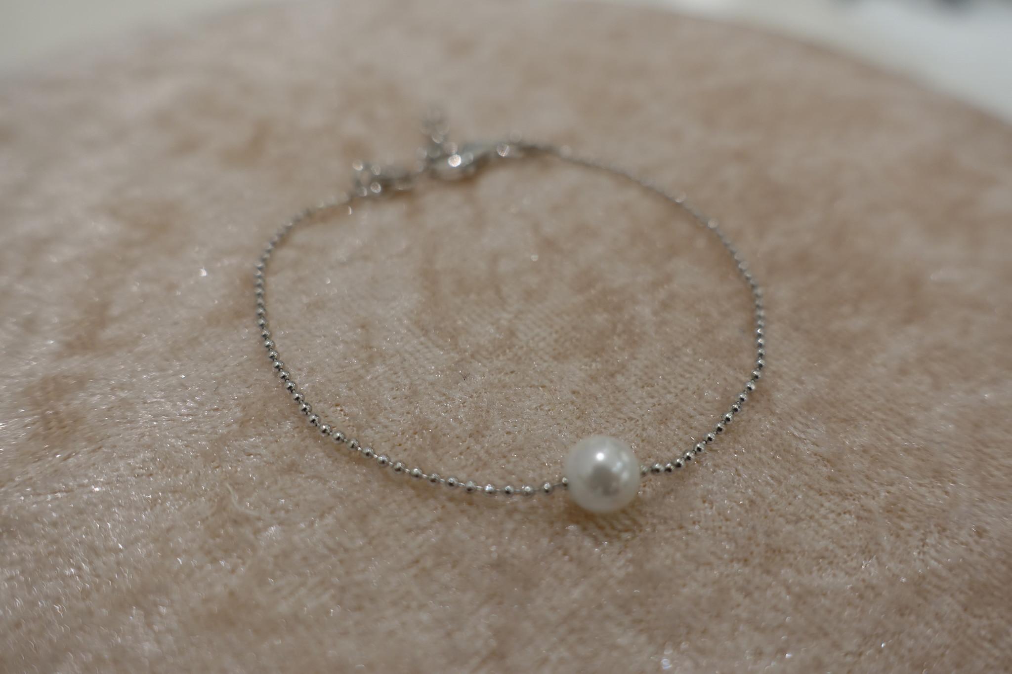 Minimalistische armband met parel, zilver-1