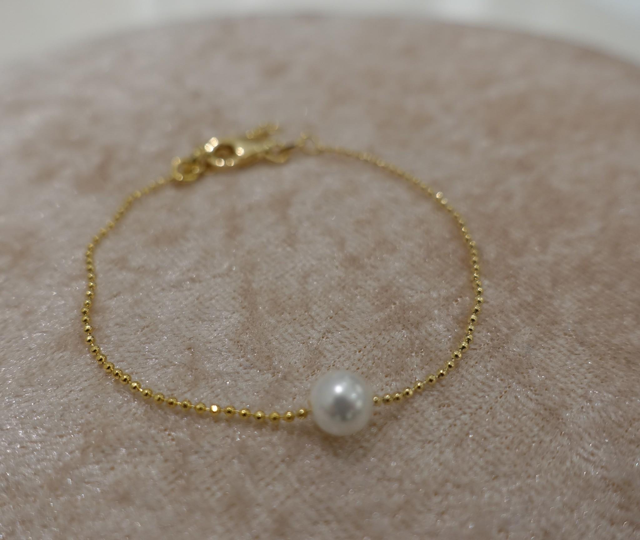 Minimalistische armband met parel, goud-1