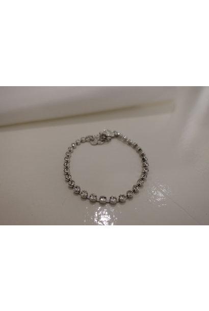 Zilveren diamanten armband, enkel