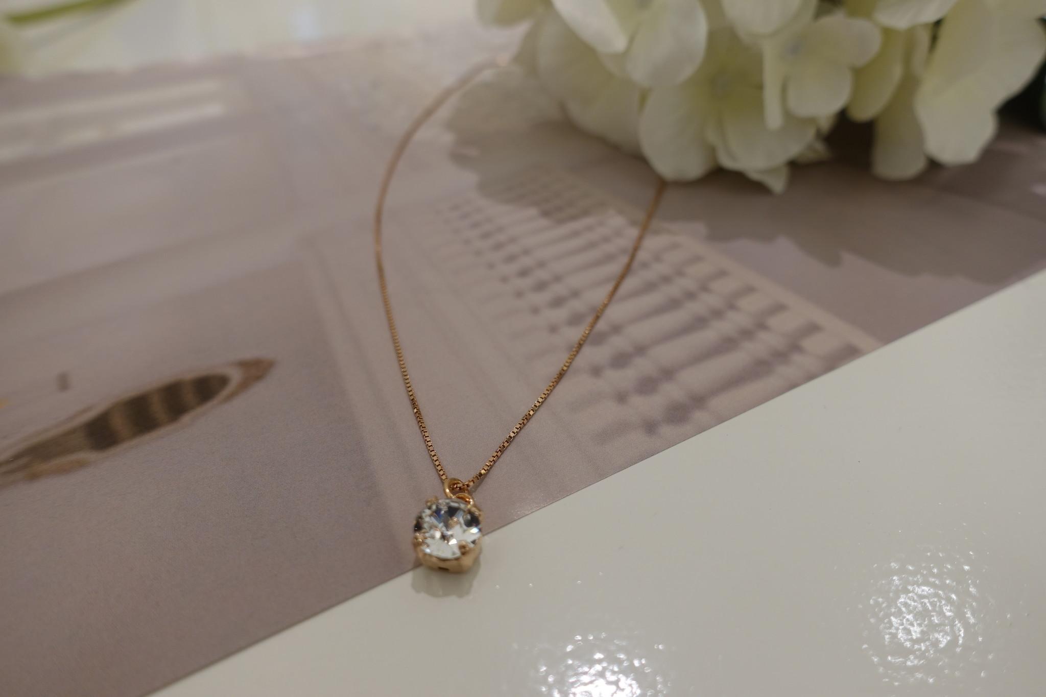 Rose kleurige ketting met diamanten hangertje-1