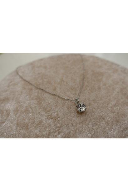 Zilveren ketting met diamanten hanger