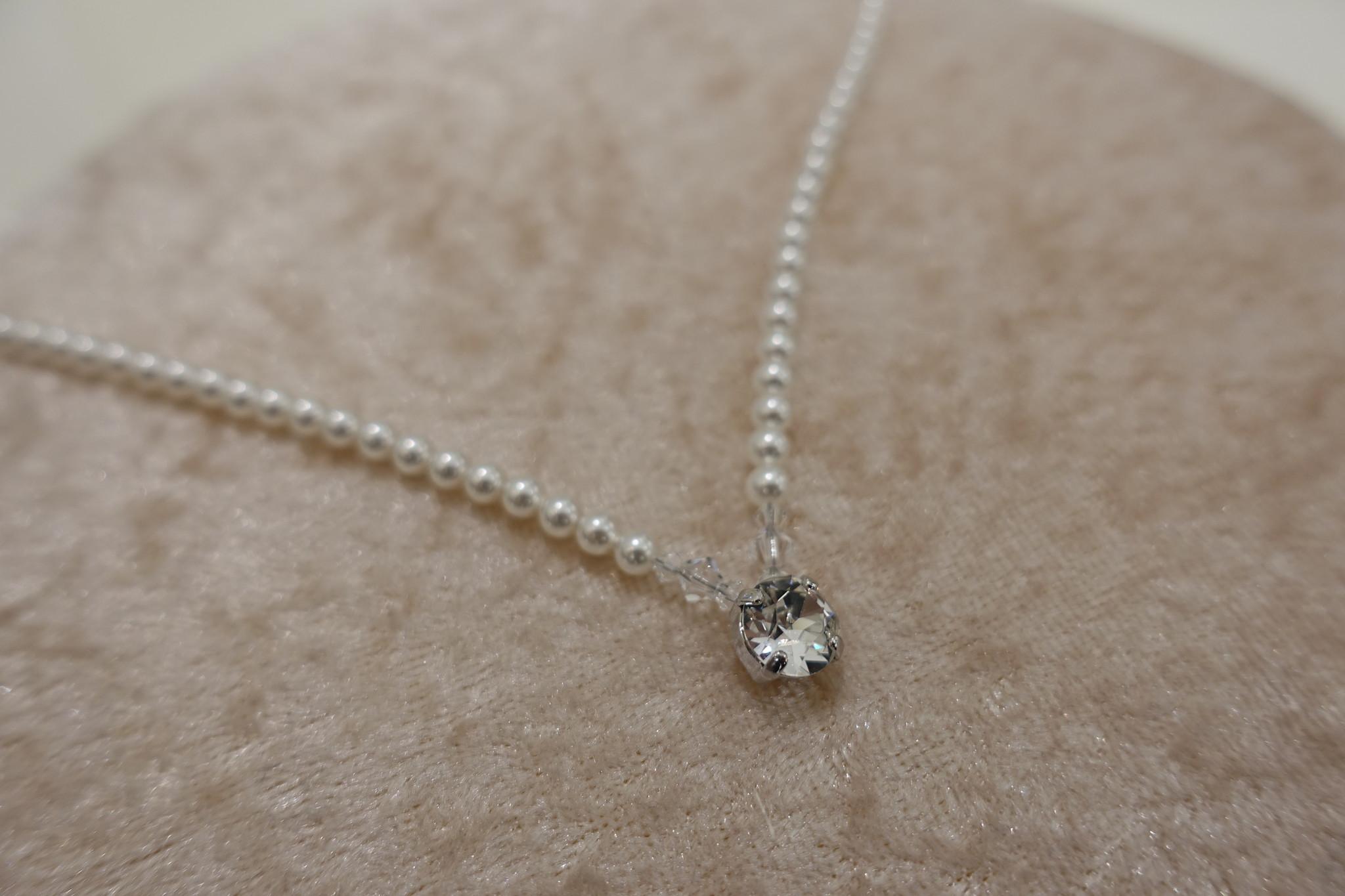 Parel ketting met kristal en diamant-1