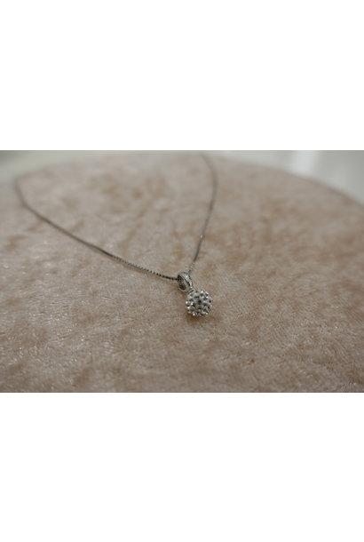 Zilveren ketting met diamanten bolletje, 6mm