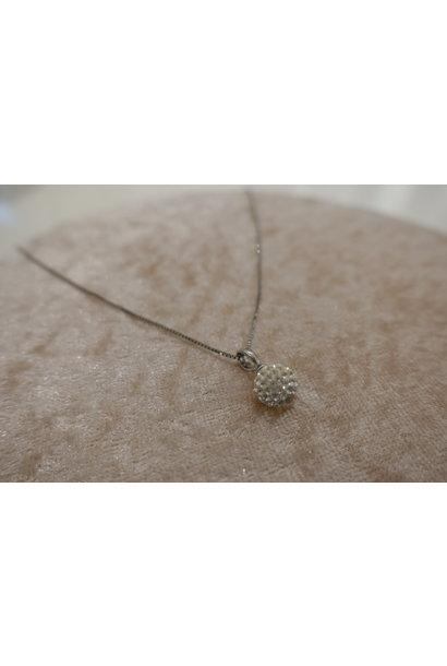 Zilveren ketting met diamanten bolletje, 8mm