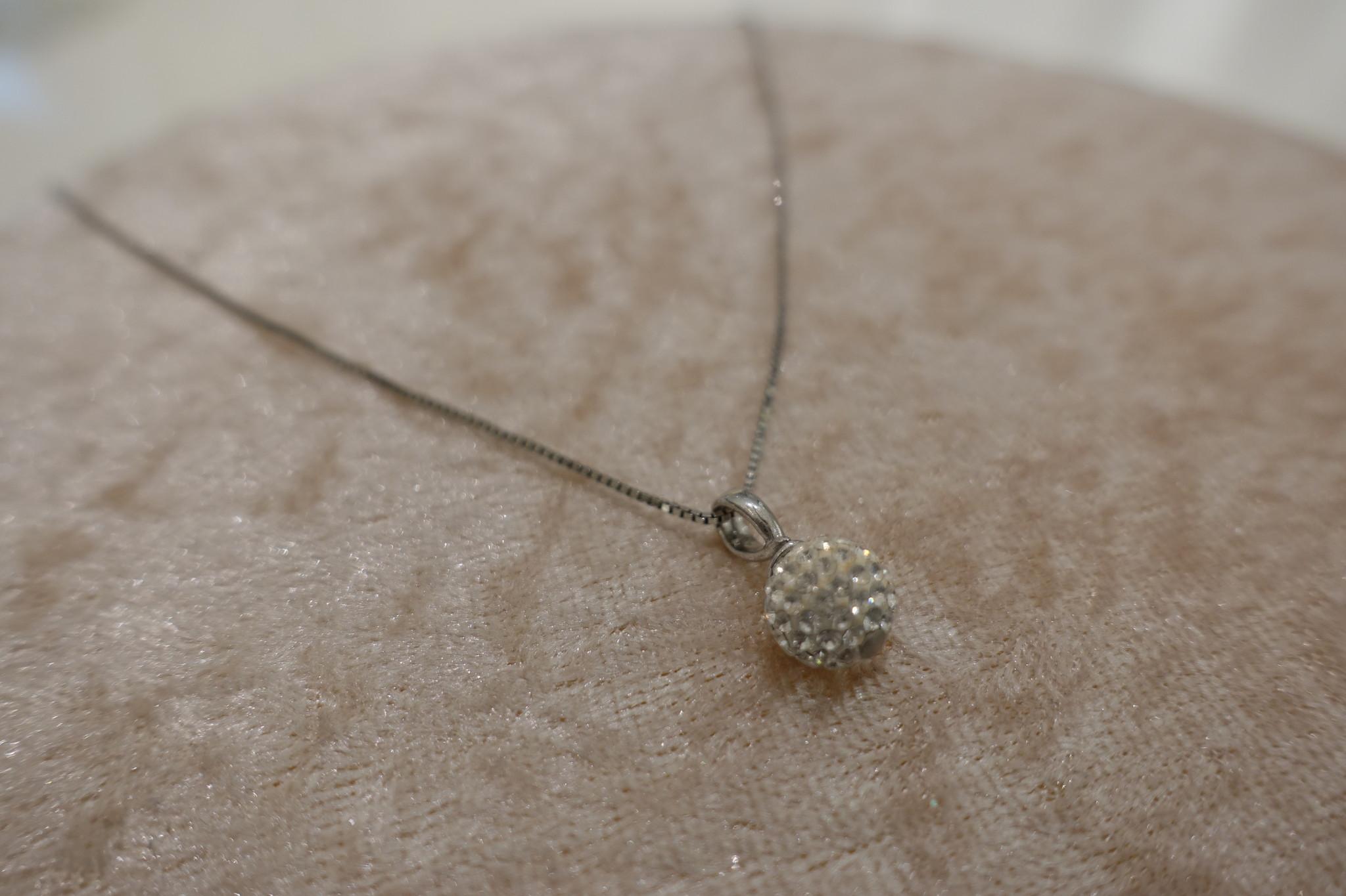Zilveren ketting met diamanten bolletje, 8 mm-1