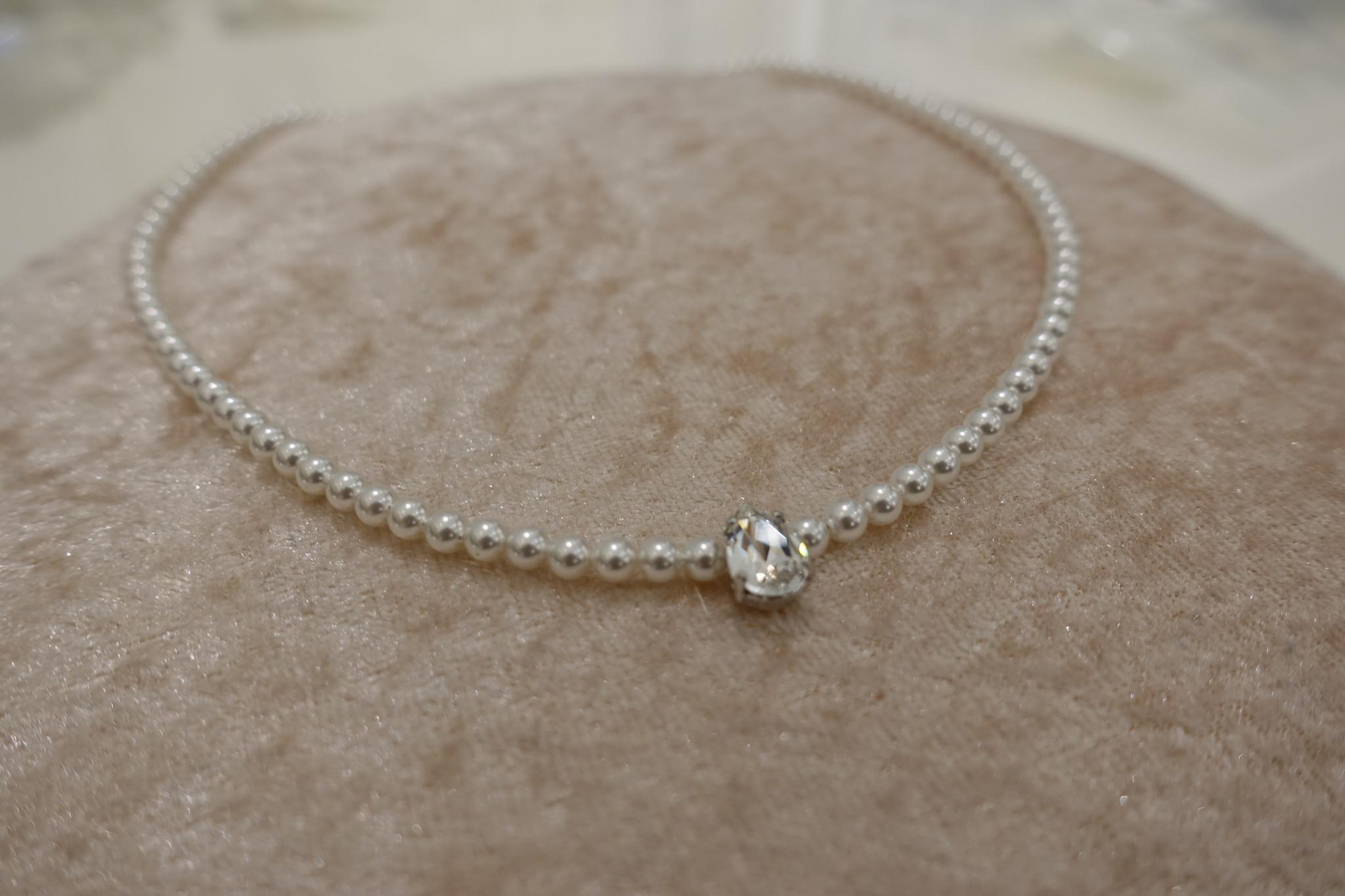 Parel ketting met druppel diamant-1