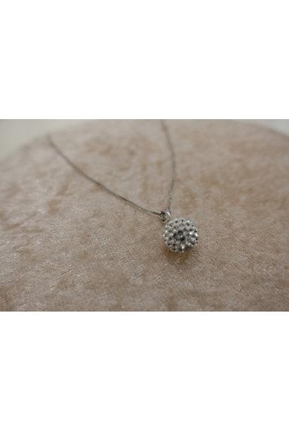 Zilveren ketting met diamanten bolletje, 10mm