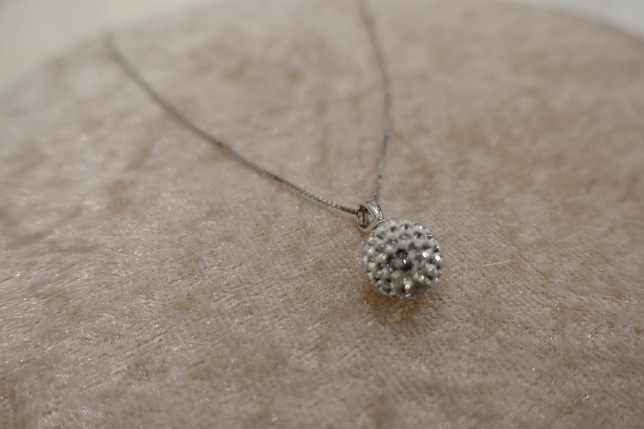 Zilveren ketting met diamanten bolletje, 10 mm-1
