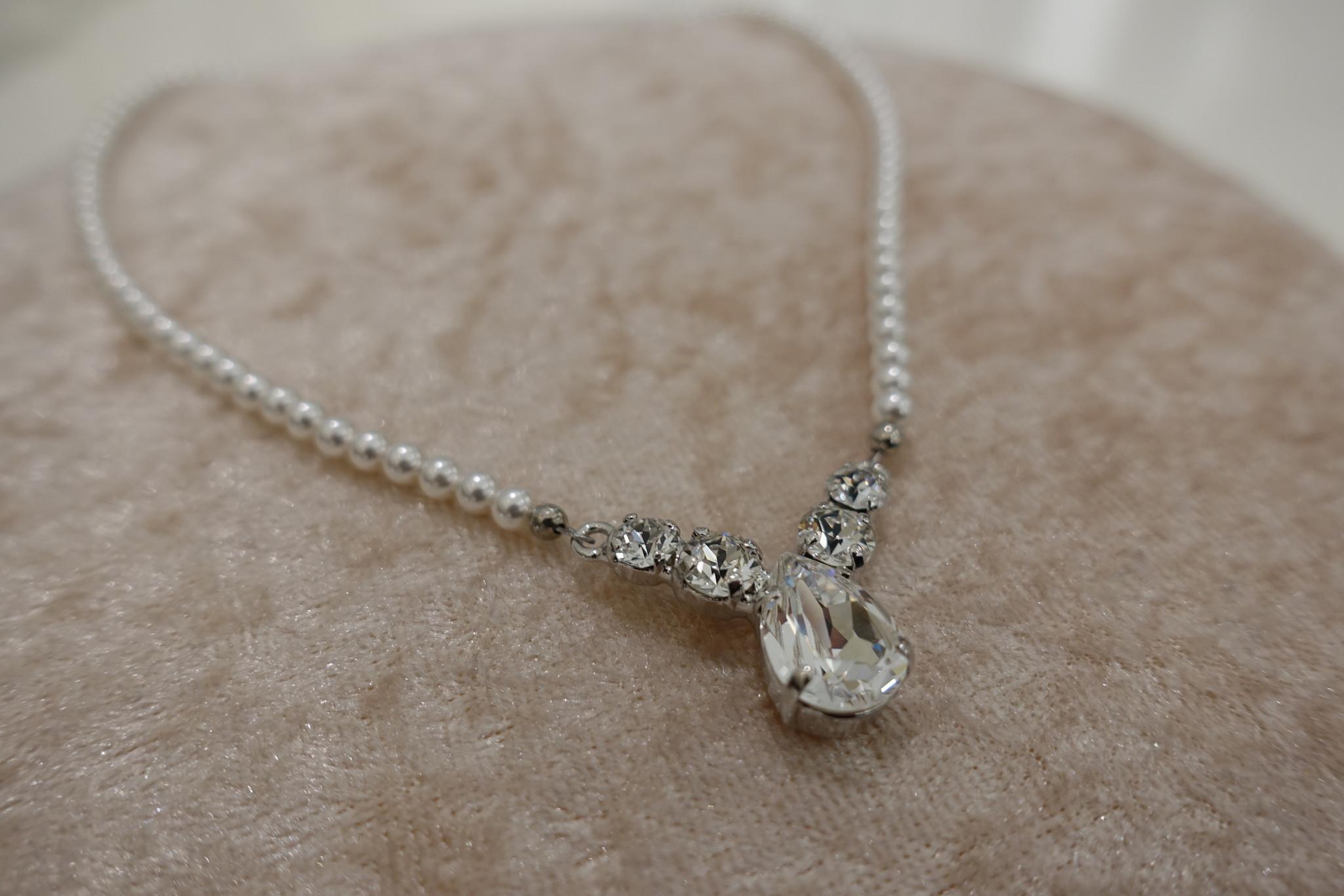 Parel ketting met diamanten-1