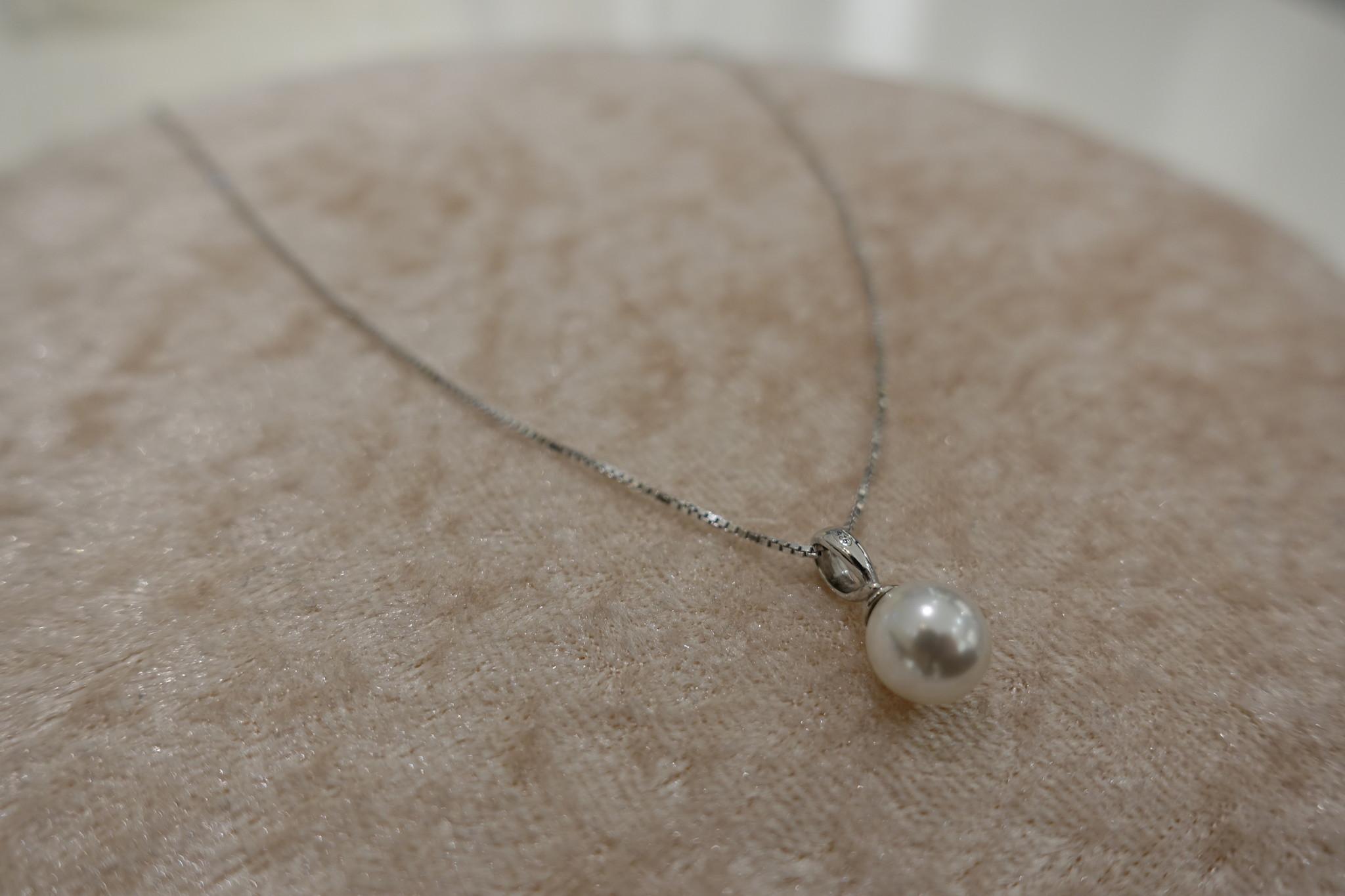 Zilveren ketting met parel hanger, 8 mm-1
