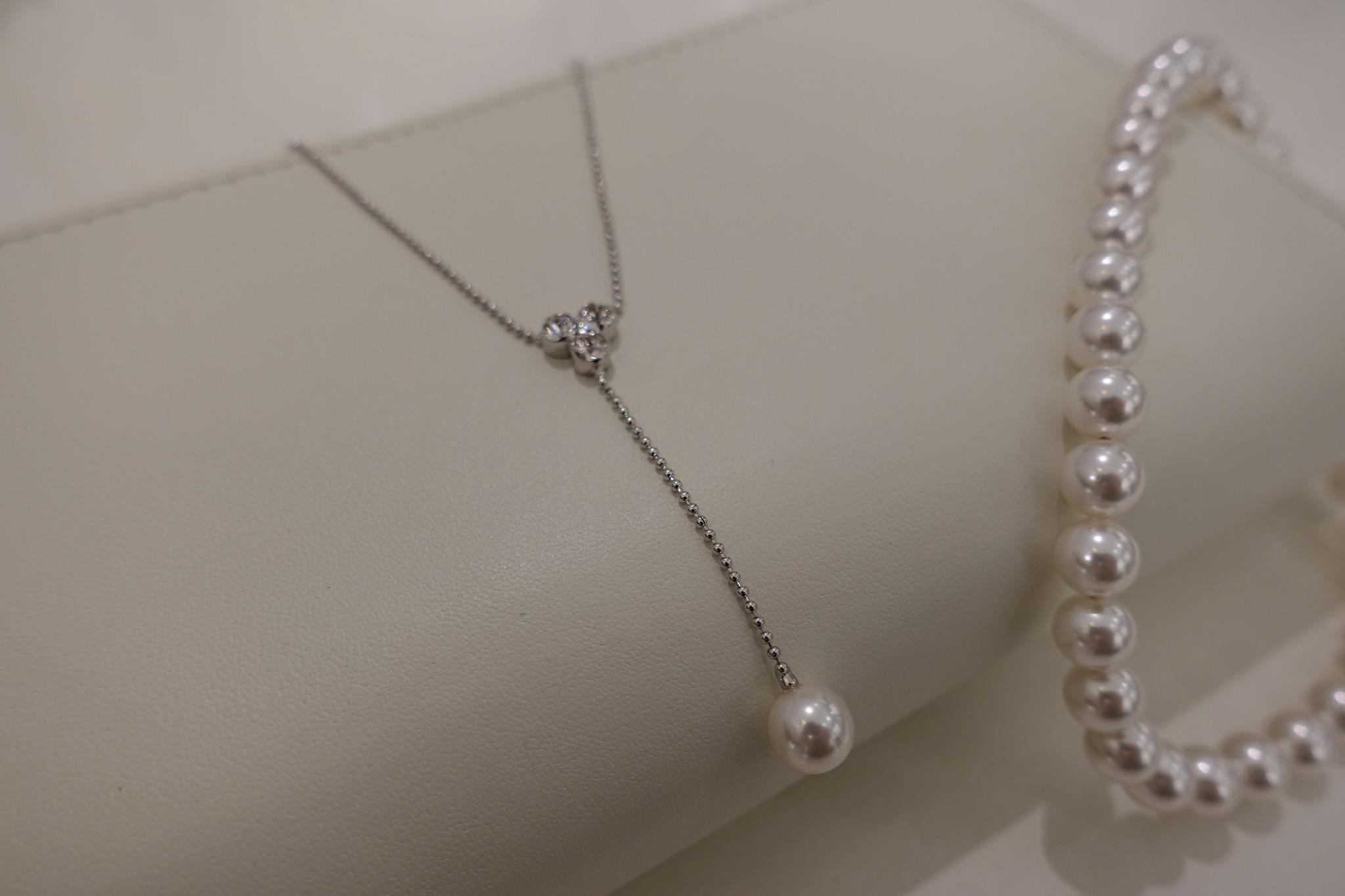 Lange zilveren  ketting met parel-1