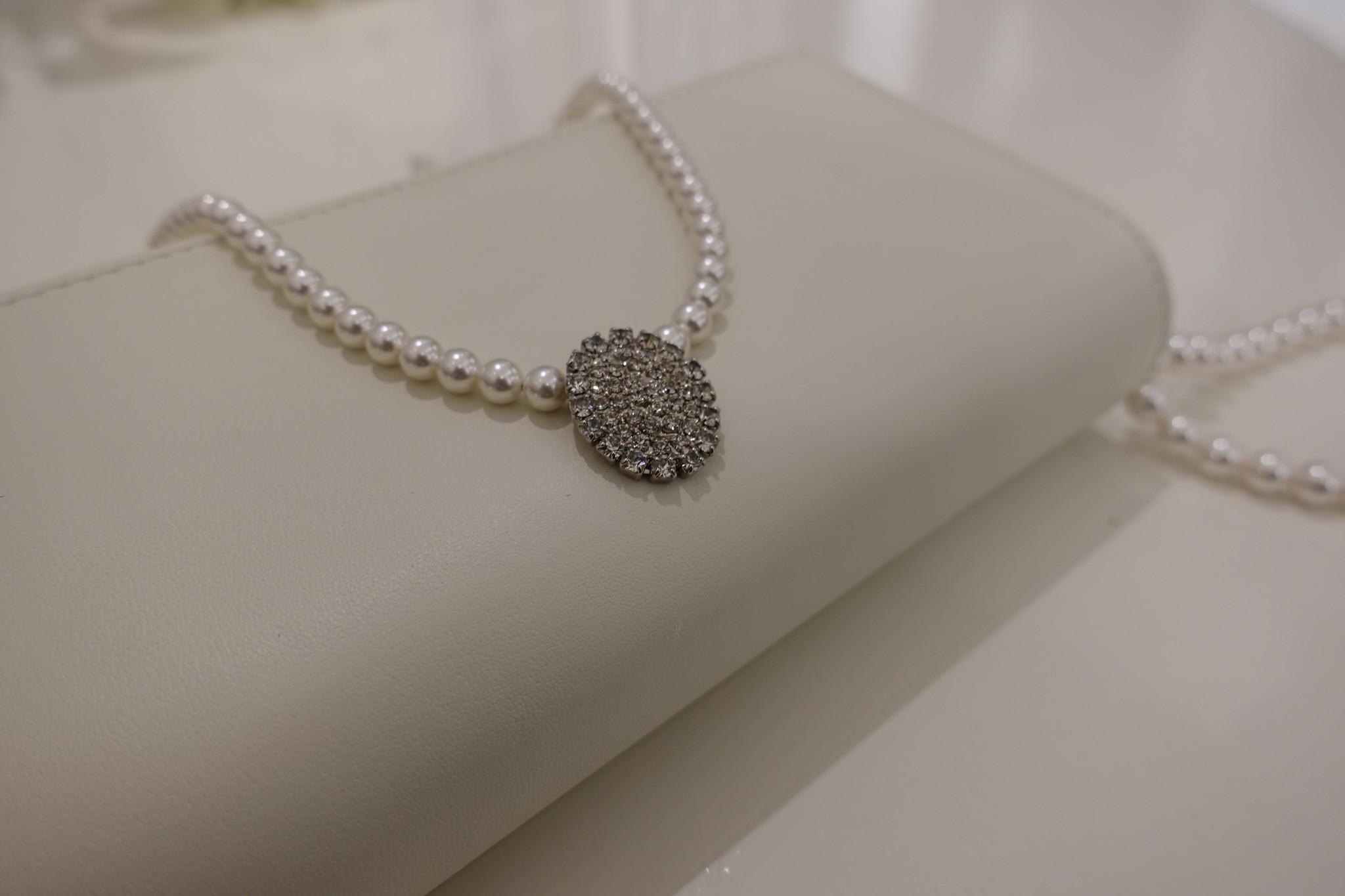 Parel ketting met diamanten ovaal-1