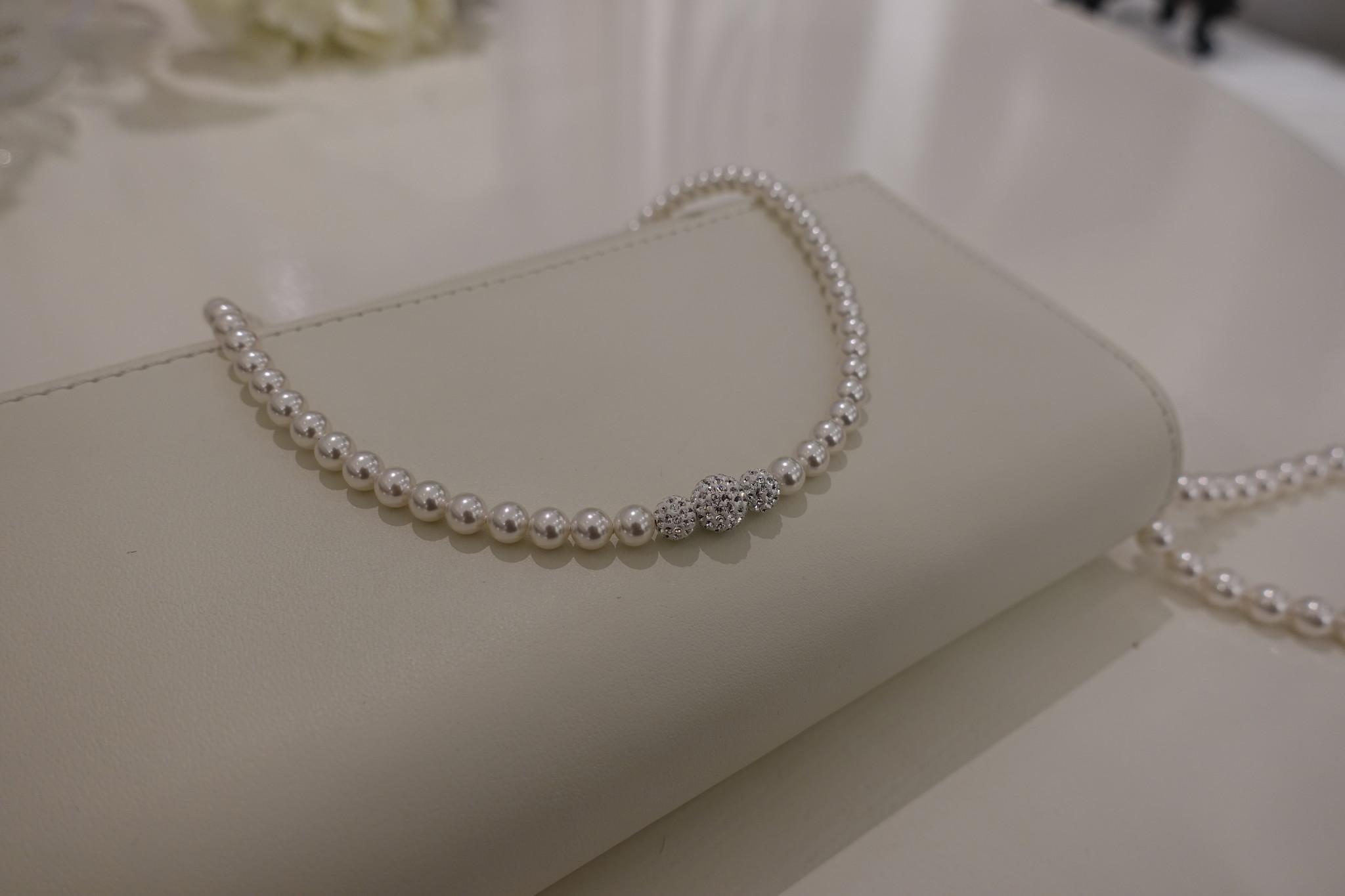 Parel ketting met diamanten bolletjes-1