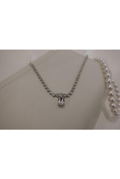 Small diamanten ketting met druppel