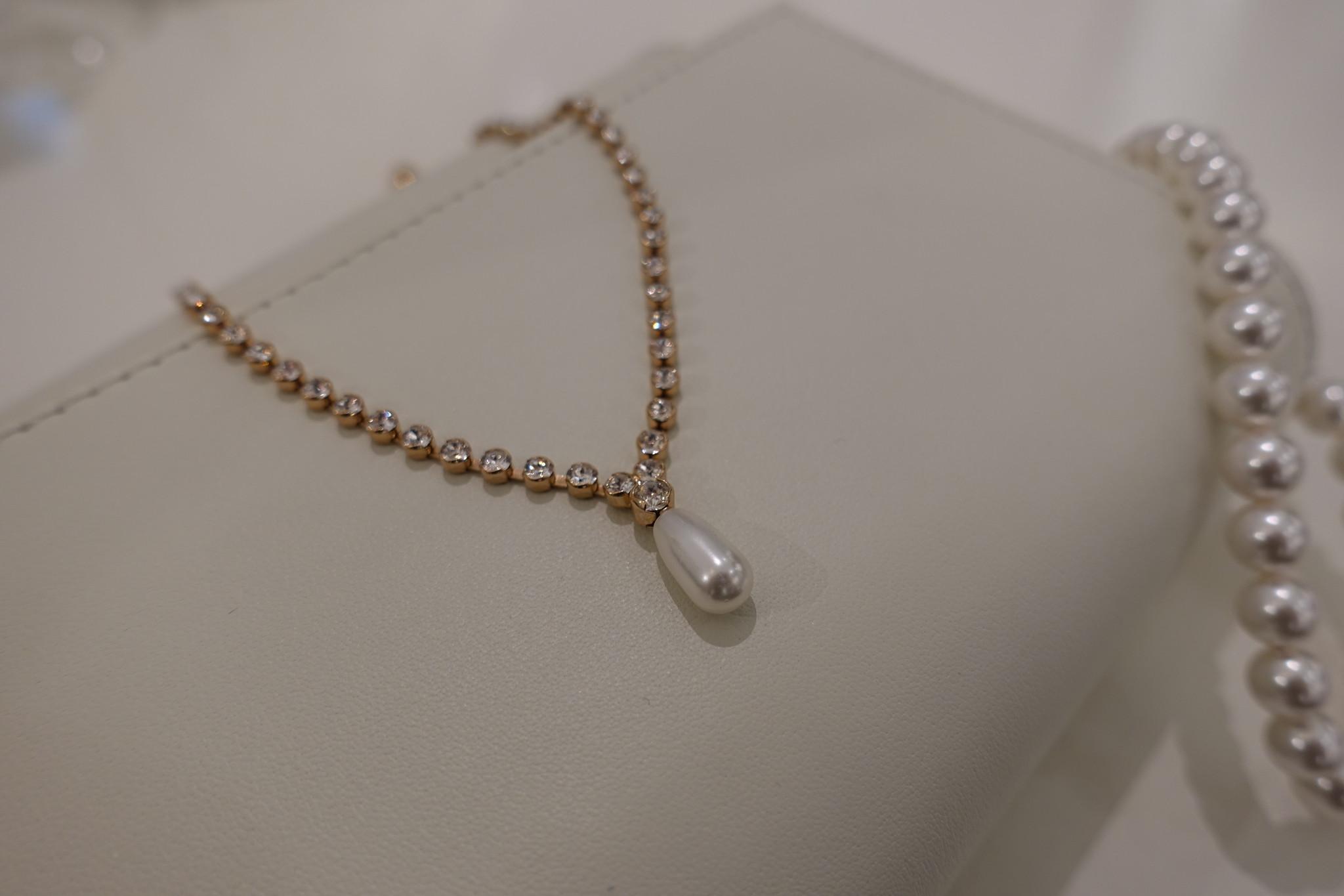 Rose diamanten ketting met parel-1
