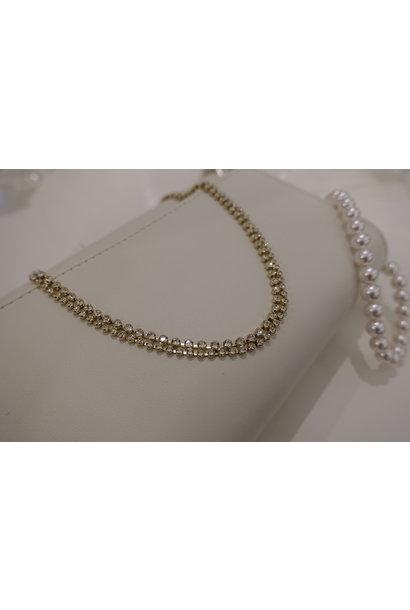Dubbele diamanten ketting, goud