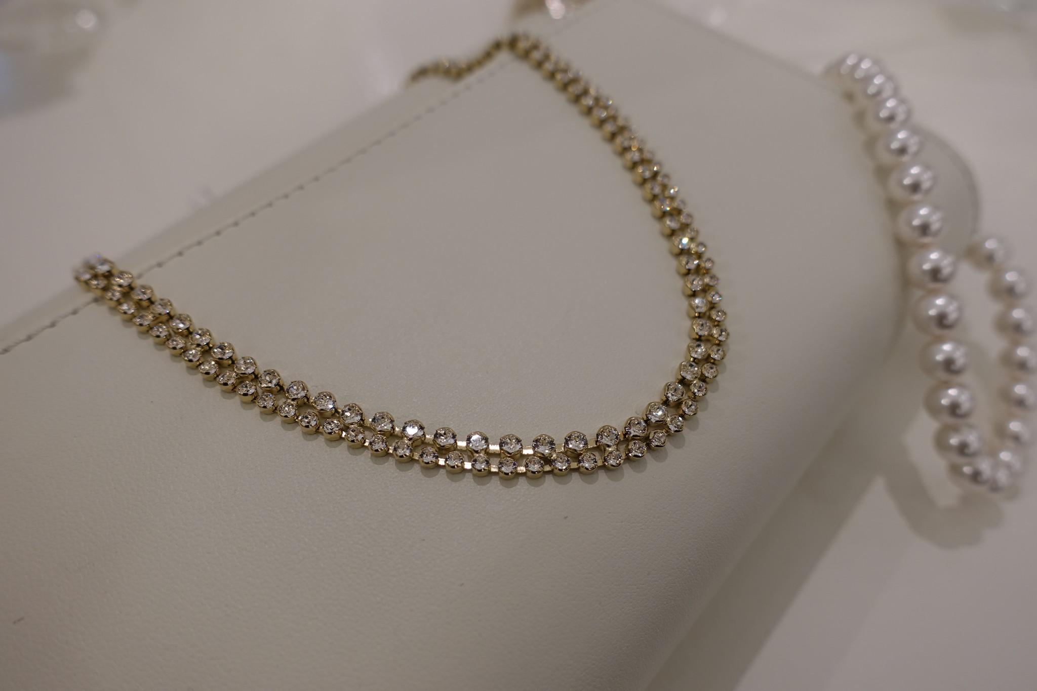 Dubbele diamanten ketting, goud-1