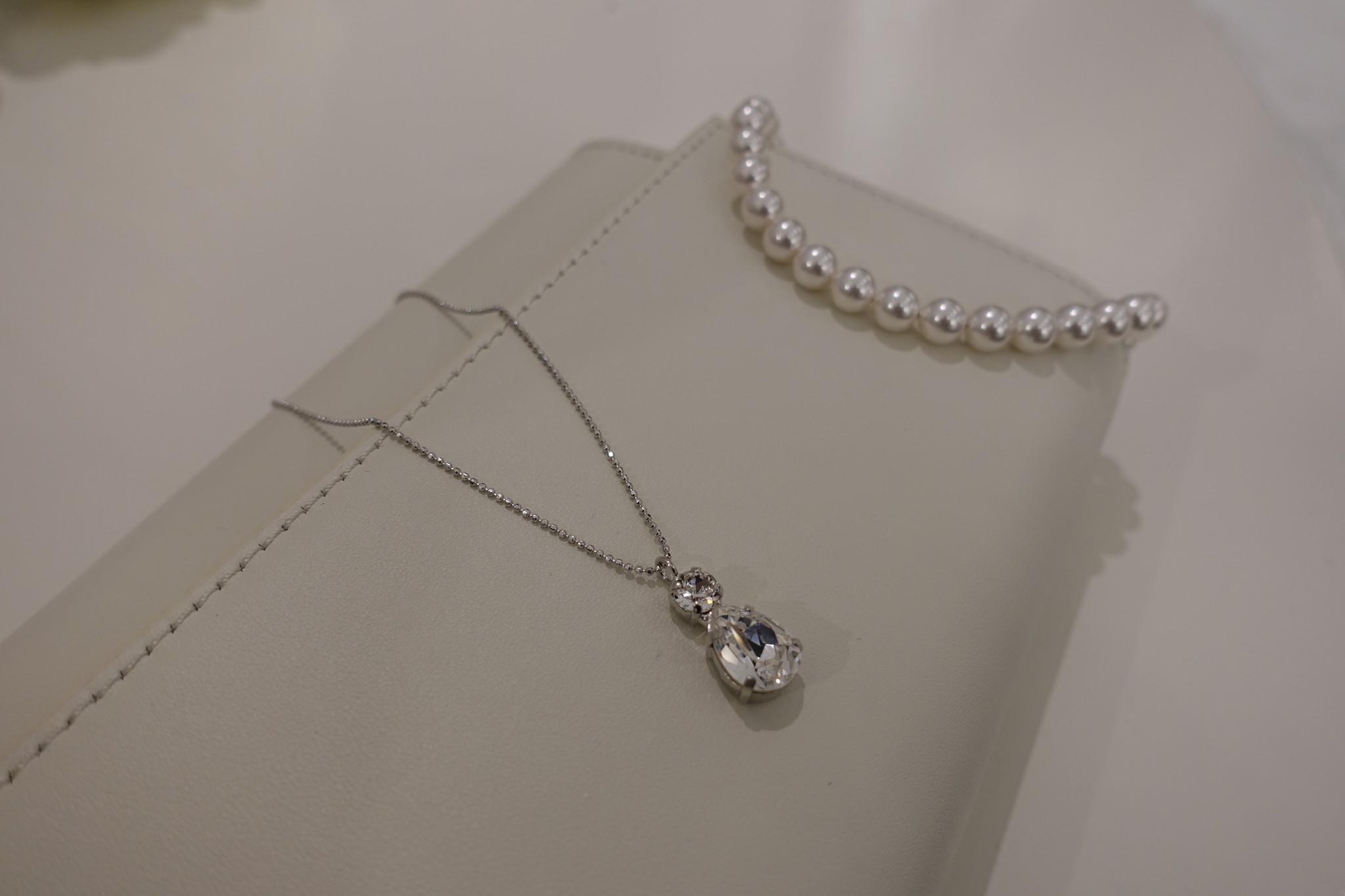 Ketting met diamanten hanger in zilver-1