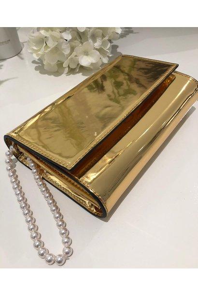 Clutch metalic goud