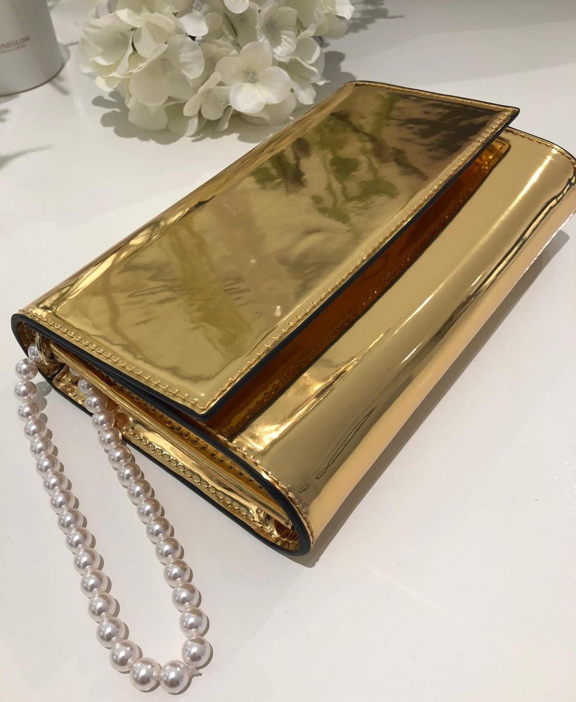 Clutch metalic goud-1