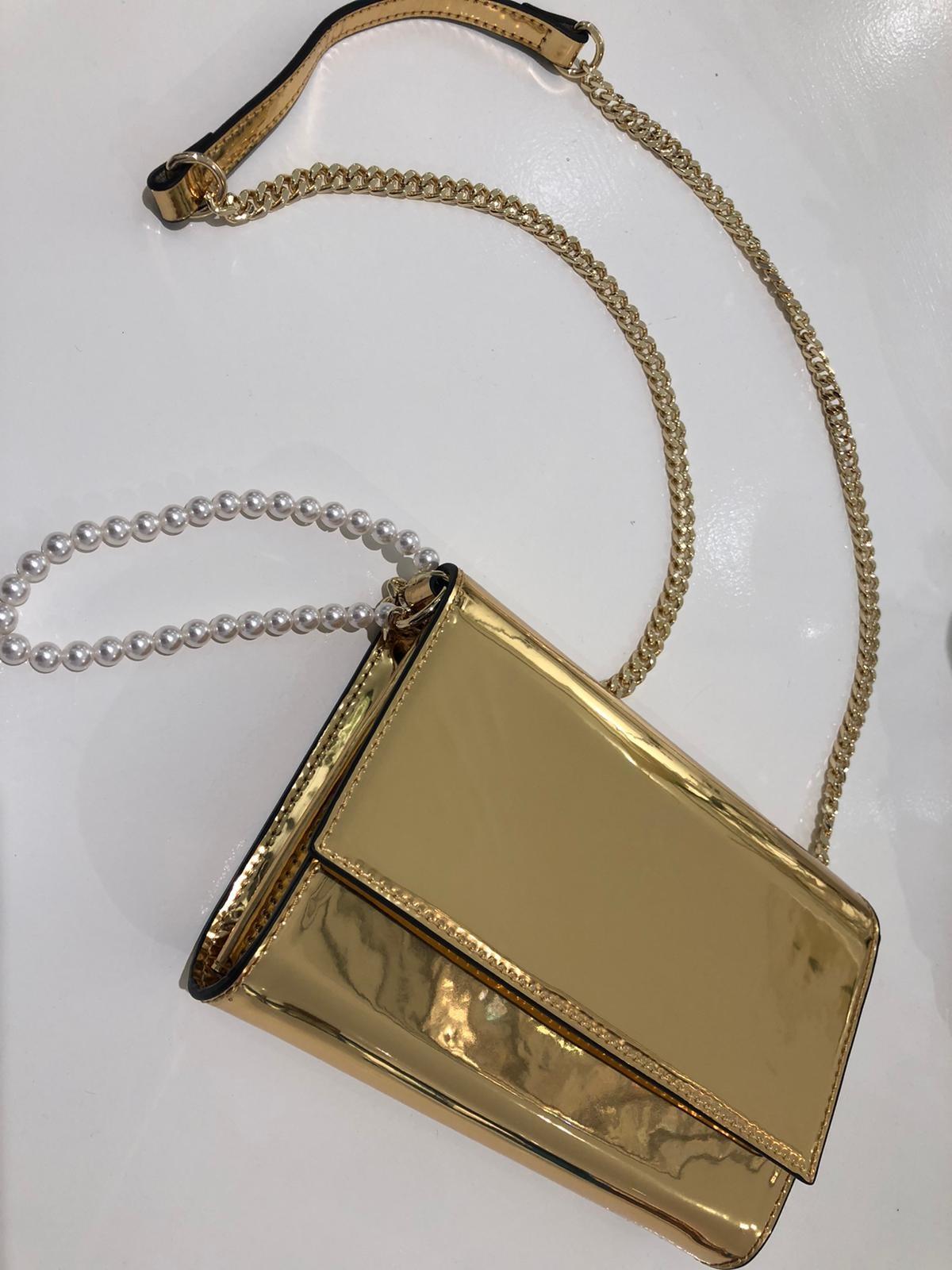 Clutch metalic goud-2