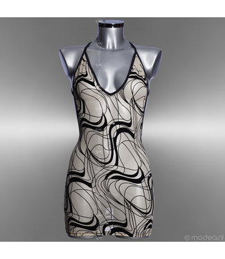 Modea - moda sensuale Lingerie V-neck dress see-through skin in Cavalli print