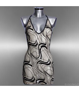 Modea - moda sensuale Lingerie V-neck jurk see-through skin in Cavalli print