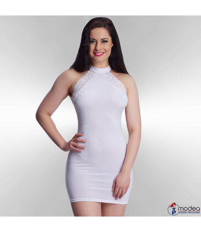 Verleidelijk jurkje met kant in wit