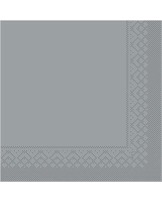 Servet Tissue 3 laags 33x33cm 1/4 vouw Uni Grijs