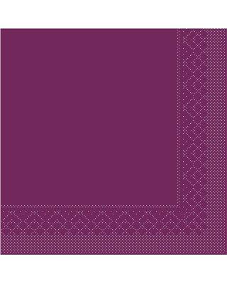Servet Tissue 3 laags 33x33cm 1/4 vouw Uni Aubergine