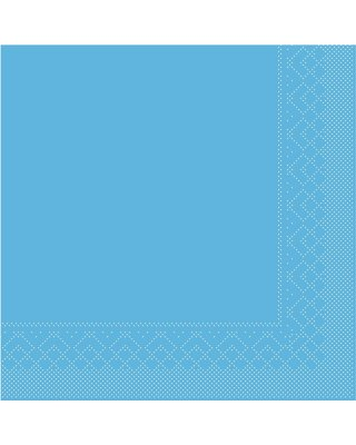 Servet Tissue 3 laags 33x33cm 1/4 vouw Uni Aqua