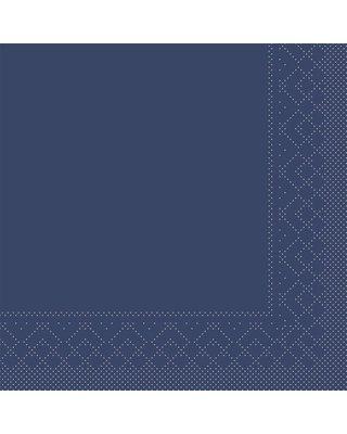 Servet Tissue 3 laags 33x33cm 1/4 vouw Uni Blauw