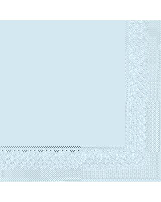 Servet Tissue 3 laags 33x33cm 1/4 vouw Uni Lichtblauw