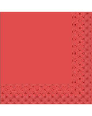 Servet Tissue 3 laags 33x33cm 1/4 vouw Uni Rood