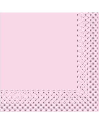 Servet Tissue 3 laags 33x33cm 1/4 vouw Uni Roze