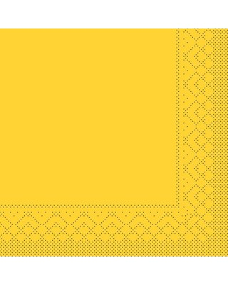 Servet Tissue 3 laags 33x33cm 1/4 vouw Uni Geel