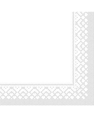 Servet Tissue 3 laags 33x33cm 1/4 vouw Uni Wit