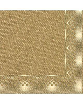 Servet Tissue 3 laags 33x33cm 1/4 vouw Uni Goud