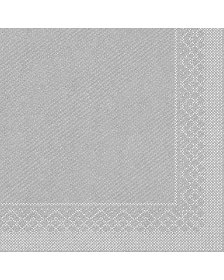 Servet Tissue 3 laags 33x33cm 1/4 vouw Uni Zilver