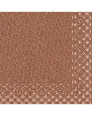 Servet Tissue 3 laags 33x33cm 1/4 vouw Uni Brons