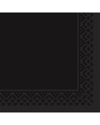 Servet Tissue 3 laags 24x24cm 1/4 vouw Uni Zwart