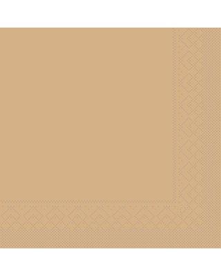 Servet Tissue 3 laags  33x33cm 1/8 vouw Uni Sand