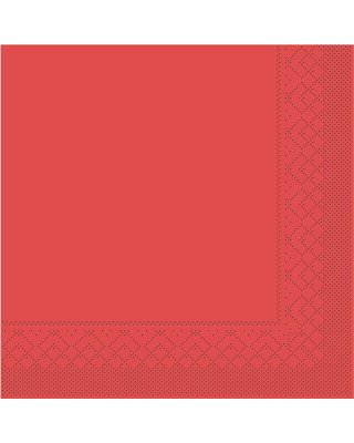 Servet Tissue 3 laags 33x33cm 1/8 vouw Uni Rood