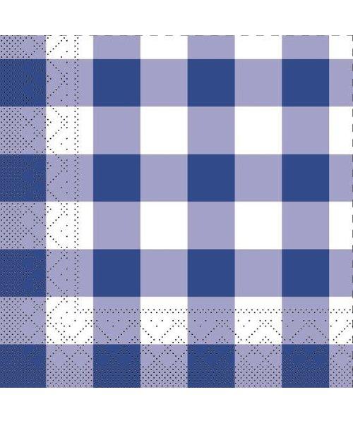 Servet Tissue 3 laags Karo Blauw 33x33cm bestellen