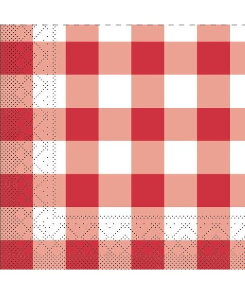 Servet Tissue 3 laags Karo Rood 33x33cm bestellen