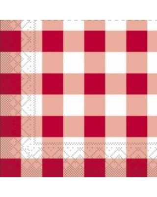 Servet Tissue Karo Rood 24x24cm