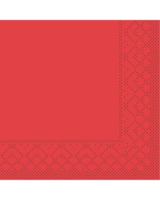 Servet Tissue 3 laags 24x24cm 1/4 vouw Uni Rood