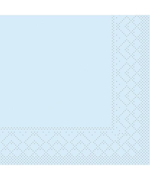 Servet Tissue 3 laags Lichtblauw 24x24cm 1/4 vouw bestellen