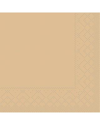Servet Tissue 3 laags 24x24cm 1/4 vouw Uni Sand